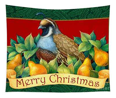 Merry Christmas Partridge Tapestry