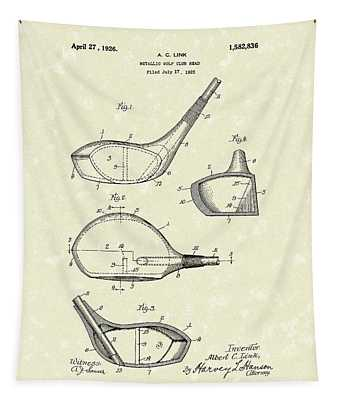 Metallic Golf Club Head 1926 Patent Art Tapestry