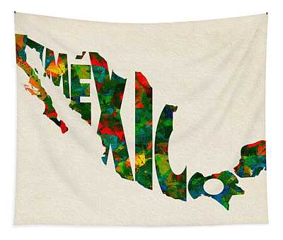 Mexico Typographic Watercolor Map Tapestry