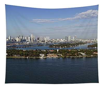 Miami And Star Island Skyline Tapestry