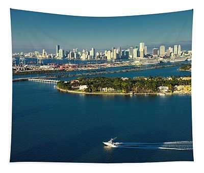 Miami City Biscayne Bay Skyline Tapestry