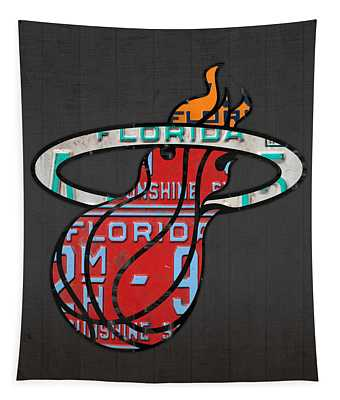 Miami Heat Basketball Team Retro Logo Vintage Recycled Florida License Plate Art Tapestry