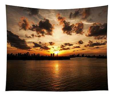 Miami Skyline Sunset Tapestry