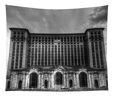 Michigan Central Station Bw Tapestry