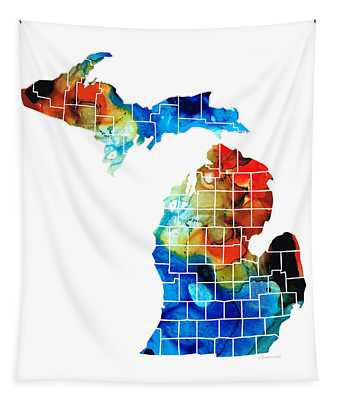 Michigan State Map - Counties By Sharon Cummings Tapestry