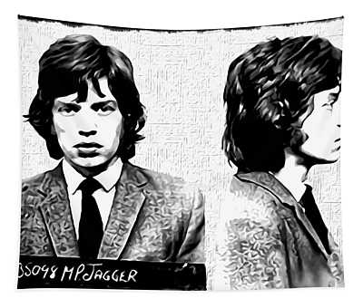 Mick Jagger Mugshot In Black And White Tapestry
