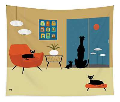 Mid Century Dogs And Cats Tapestry