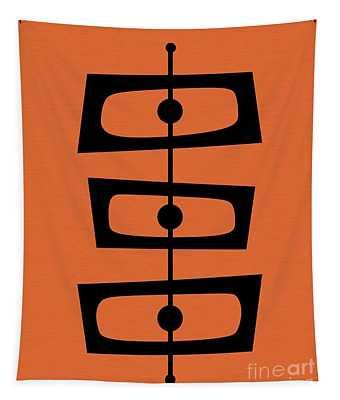 Mid Century Shapes On Orange Tapestry