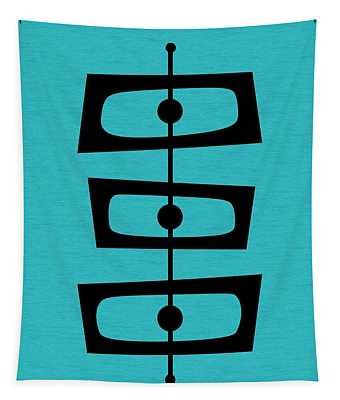 Mid Century Shapes On Turquoise Tapestry
