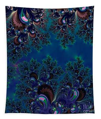 Midnight Blue Frost Crystals Fractal Tapestry
