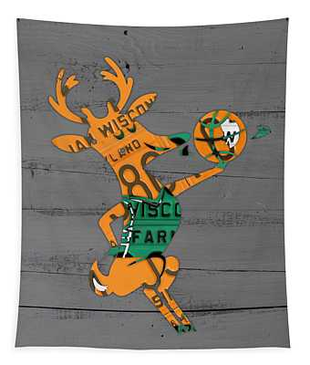 Milwaukee Bucks Basketball Team Logo Vintage Recycled Wisconsin License Plate Art Tapestry