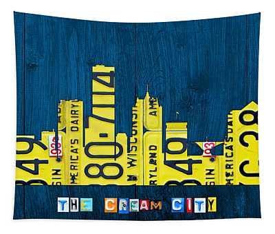 Milwaukee Wisconsin City Skyline License Plate Art Vintage On Wood Tapestry
