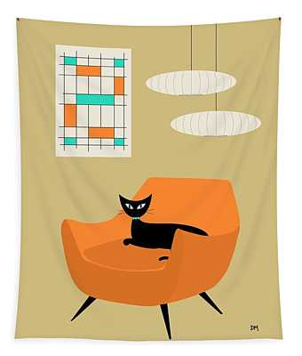 Mini Abstract With Orange Chair Tapestry