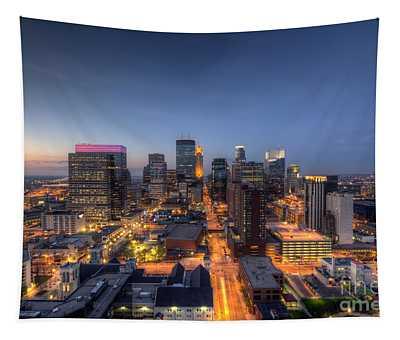 Minneapolis Skyline At Night Tapestry