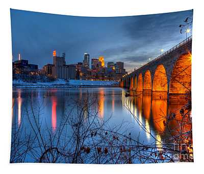 Minneapolis Skyline Images Stone Arch Bridge Spring Evening Tapestry