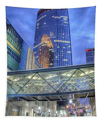 Minneapolis Skyline Photography Nicollet Mall Winter Evening Tapestry