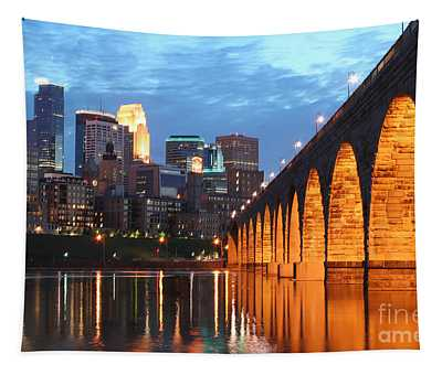 Minneapolis Skyline Photography Stone Arch Bridge Tapestry