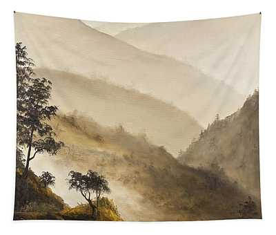 Tapestry featuring the painting Misty Hills by Darice Machel McGuire
