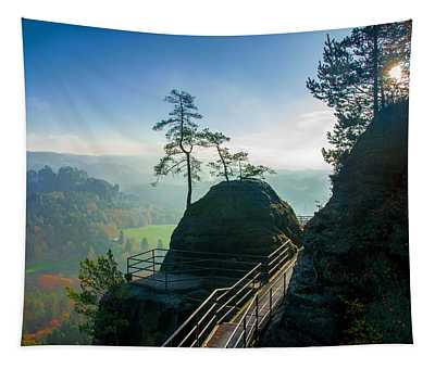 Misty Sunrise On Neurathen Castle Tapestry
