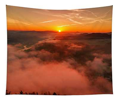 Misty Sunrise On The Lilienstein Tapestry