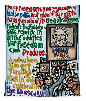 Molly Ivins Tapestry by Ricardo Levins Morales