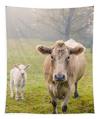 Momma And Baby Cow Tapestry