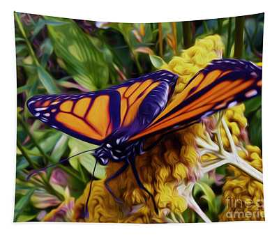Monarch On Yarrow Tapestry