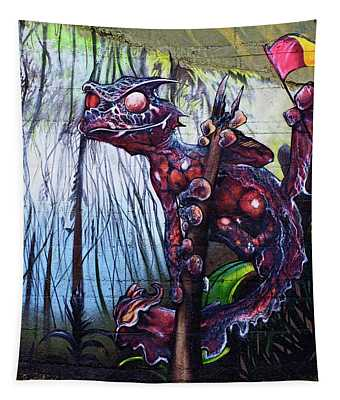 Monster With Flag Tapestry