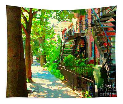 Montreal Art Colorful Winding Staircase Scenes Tree Lined Streets Of Verdun Art By Carole Spandau Tapestry