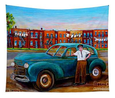 Montreal Taxi Driver 1940 Cab Vintage Car Montreal Memories Row Houses City Scenes Carole Spandau Tapestry