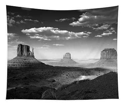 Monument Valley In Black And White Tapestry