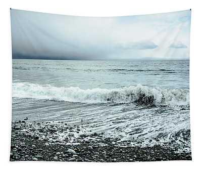 Moody Shoreline French Beach Tapestry