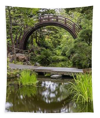 Moon Bridge Vertical - Japanese Tea Garden Tapestry