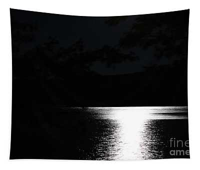 Moon On Waterton Lake Tapestry