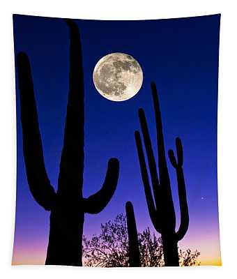 Moon Over Saguaro Cactus Carnegiea Tapestry