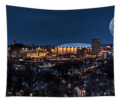 Moon Over The Carrier Dome Tapestry