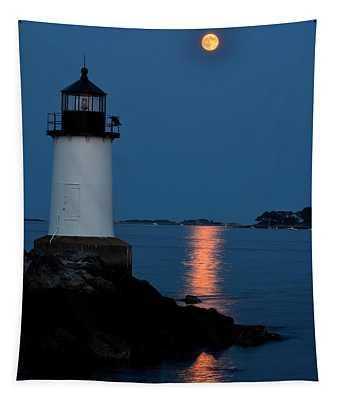 Moon Over Winter Island Salem Ma Tapestry