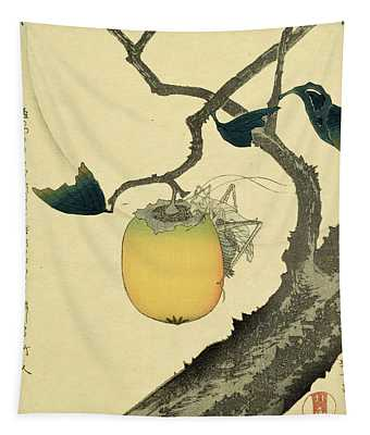 Moon Persimmon And Grasshopper Tapestry