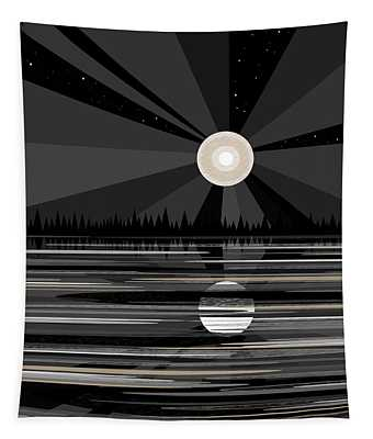 Moon Rise - Black And White Tapestry