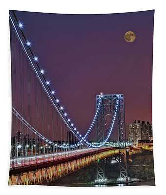 Moon Rise Over The George Washington Bridge Tapestry