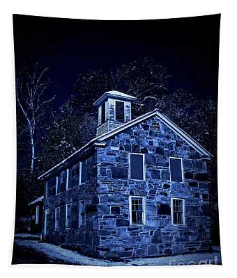 Moonlight On The Old Stone Building  Tapestry