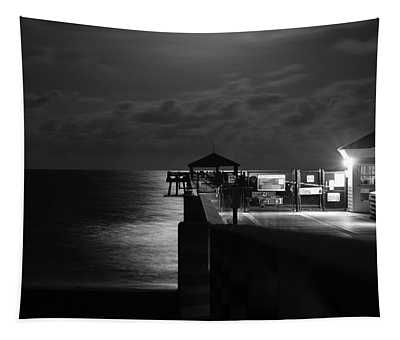Moonlit Pier Black And White Tapestry