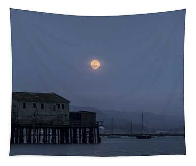 Moonrise Over The Harbor Tapestry