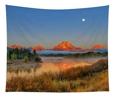 Moonset Over Oxbow Bend Tapestry