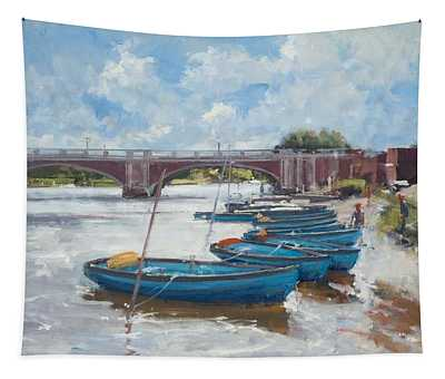 Moorings At Hampton Court, 2011 Oil On Canvas Tapestry