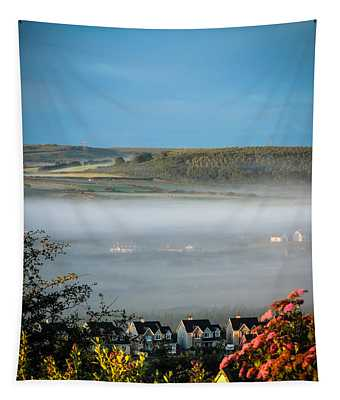 Tapestry featuring the photograph Morning Mist Over Lissycasey by James Truett