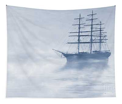 Morning Mists Cyanotype Tapestry
