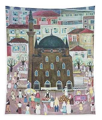 Mosque In Razgrad, 1972 Oil On Canvas Tapestry