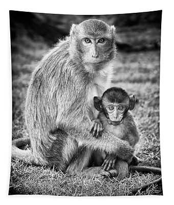 Mother And Baby Monkey Black And White Tapestry