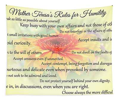 Mother Theresa's Rules For Humility Tapestry